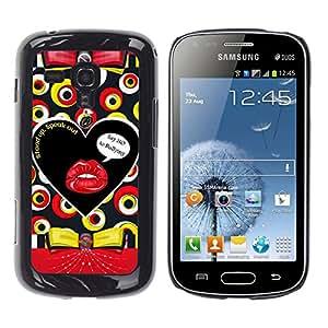 iKiki Tech / Estuche rígido - Text Kiss Lips Sensual Pattern Abstract - Samsung Galaxy S Duos S7562