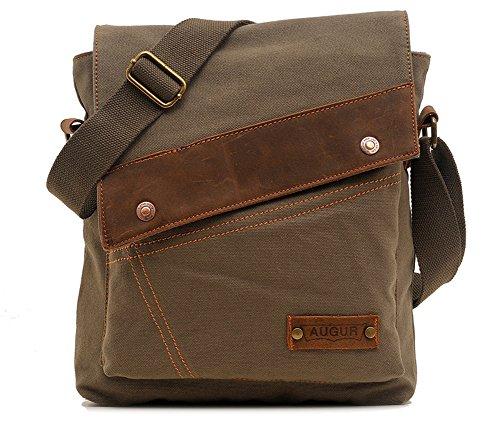 Womens Leather Satchel Cross Body Shoulder Messenger Bag Green - 9