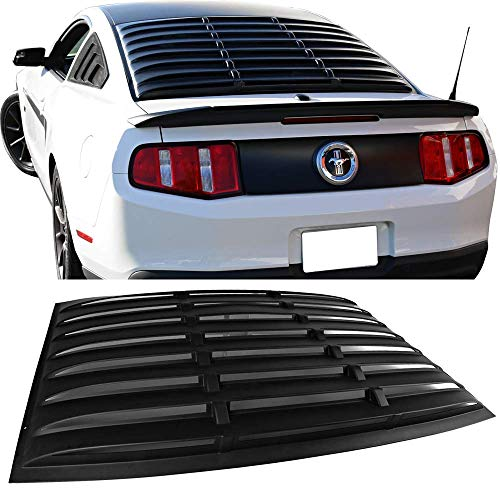 Window Louver Fits 2005-2014 Ford Mustang|| ABS Matte Black Rear Cover By IKON MOTORSPORTS || 2006 2007 2008 2009 2010 2011 2012 2013 - Louver Rear Ford Window Mustang