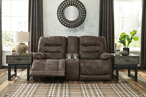 Signature Design by Ashley 5430318 Welsford Power Reclining Loveseat with Console, Walnut