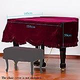 Andoer Grand Piano Pleuche Bordered Dust Protective Cover Cloth