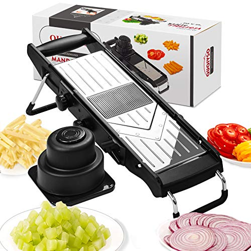 [Upgraded] Mandoline Slicer - Stainless Steel V-Blades Adjustable Thickness,Vegetable Slicer Food Slicer Dicer Cutter Chopper Grater & Julienne with Safety - Slicer Food Mandoline