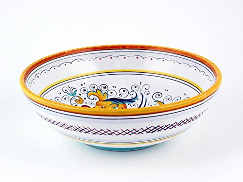 Hand Painted Italian Ceramic 8-inch Soup & Pasta Bowl Raffaellesco - Handmade in (Italian Pasta Rice)