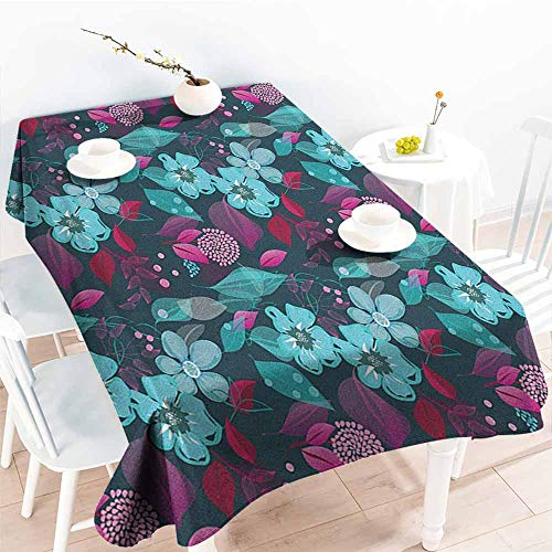 EwaskyOnline Spill-Proof Table Cover,Flower Flow of Pale Blue Blossoms and Colorful Leaves Romantic Fantasy Garden Art Pattern,High-end Durable Creative Home,W50x80L, Multicolor
