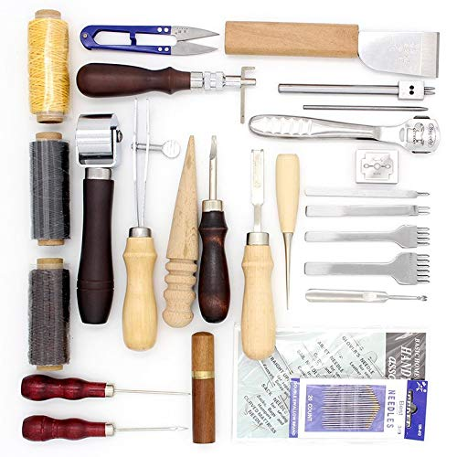 Craft Tools: 25 Pcs/Lot Tools for Working with Skin Leather Craft Hand Tool Set Thinning Edge Beveler Groover for Leather Processing Tool