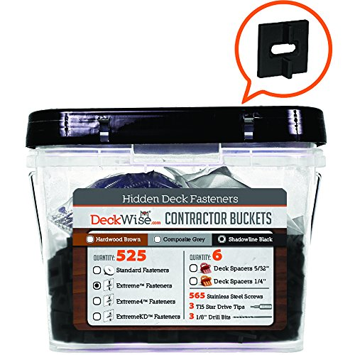 "Deckwise Ipe Clip Extreme Deck Fasteners 3/32"" Spacing - BLACK CLIPS - 525 pc Contractor Bucket for 300 Sq. Ft. of Decking (Includes 8x2"" SS Screws)"