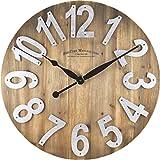 FirsTime 00243 Slat Wood Wall Clock, Tan