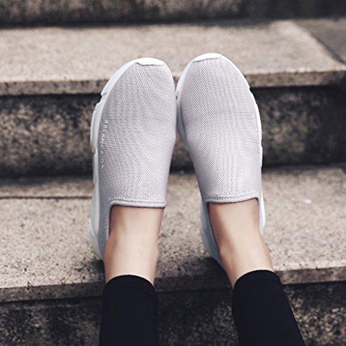 HWF Chaussures femme Les chaussures de sport de femelle de maille de ressort respirant courent les chaussures simples plates simples de femmes ( Couleur : Gris , taille : 35 ) Gris
