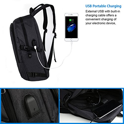 Anti Theft Business Laptop Backpack with USB Charging Port Fits UNDER 17 inch Laptop by Mancro (2-Black)