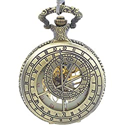 Antique Pocket Watches Zodiac Symbol Mens Skeleton Mechanical Manual Wind Pocket Watch Roman Numeral With Chain