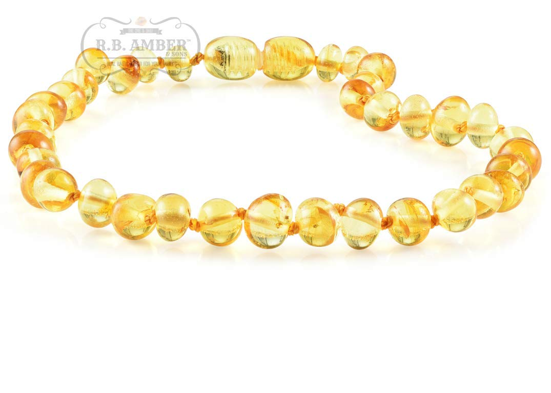 Premium Grade Amber Teething Necklace - POP CLASP - Hand Crafted Baltic Amber Teething Necklace in 3 Sizes - Teething Relief for Baby and Child (12-13 inches, Lemon) by R.B. Amber & Sons