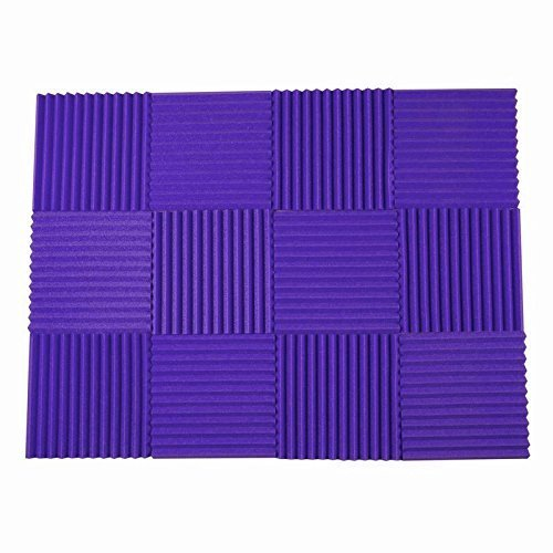 12 Pack All Purple Acoustic Foam Sound Proof Foam Acoustic Panels Nosie Dampening Foam Studio Soundproofing Padding 1'' x 12'' x 12'' - Covers 12 Square Feet - Fire Resistant