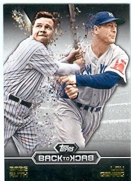 Babe Ruth and Lou Gehrig baseball card (New York Yankees Hall of Fame) 2016 Topps #B2B12 Back to Back