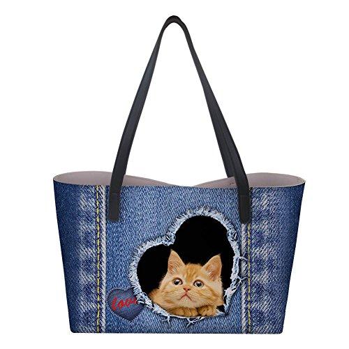 Women's Large Cat 3 Tote Shoulder Pattern Purse Satchel Handle Laptop Top Bag Handbag Designer Bag Denim xwqf5Ht6H