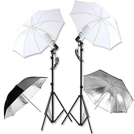 2 Douilles 2 Tr/épieds 2 Parapluies amzdeal /® kit parapluie pour Studio Photo//Vid/éo 2 x 135 W