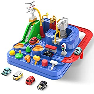 EHO Montessori Toys for Toddlers 3 4 Year Olds Preschool Toys Slot Car,Girls and Boys Toys Age 3-5 Creative Kids Games for Xmas Gifts Birthday Present