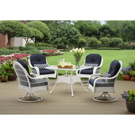 o Dining Set, White and Blue Palette, Durable Sturdy Steel Frames, Wicker, Weather and Stain Resistant Cushions and Lumbar Pillows Included (Durable Palette)