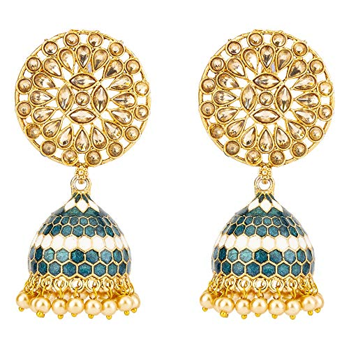 Jewels Galaxy Copper Gold Plated and Pearl  amp; Cubic Zirconia Jhumki Earrings for Women  amp; Girls