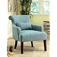 Furniture of America Venize Contemporary Style Accent Chair, Blue
