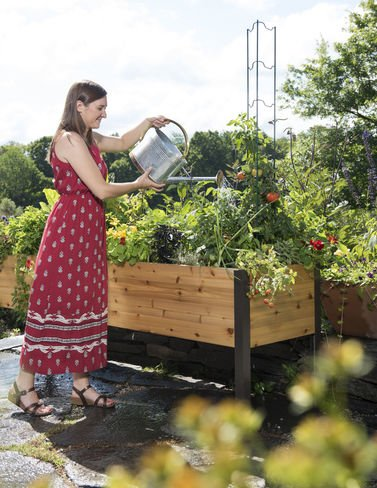 Gardener's Supply 2 Ft x 8 Ft Raised Garden Bed Elevated Cedar Planter Box Standing Garden (24