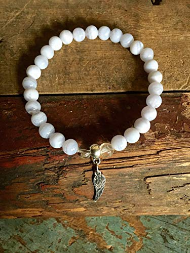 Blue Lace Agate Bracelet, Crystal Quartz Stone, Angel Wing Charm, Inner Peace Focus Protection