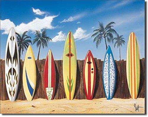 STARTING LINEUP BEACH SURFER SURFING LONGBOARD SURFBOARD FIN TIN 12.5