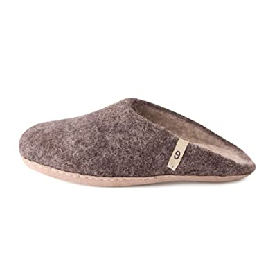 Handmade House Slippers - Natural Sheep Wool Slip-Ons, Anti-Skid Leather Sole - Soft, Supportive, Warm House Shoes for Men and Women - Sweat, Dirt, Odor Resistant Slipper | Slippers