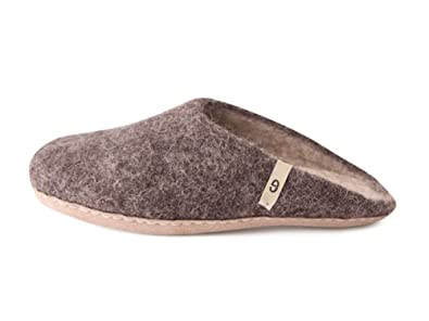 14ace7ffec28c1 Amazon.com | Handmade House Slippers - Natural Sheep Wool Slip-Ons,  Anti-Skid Leather Sole - Soft, Supportive, Warm House Shoes for Men and  Women - Sweat, ...