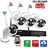 AKASO Wifi/Wireless Security Camera System Video Surveillance CCTV NVR Kits, 4CH 720P(1280 x 720), Auto-Pairing, Plug&Play, 65ft Night Vision, P2P, IP66 Outdoor IP Camera NO HDD (WS1M-401)