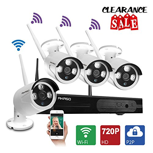 - AKASO Wireless Security Camera System Video Surveillance CCTV NVR Wifi Kits, 4CH 720P (1280 x 720) Auto-Pair Plug&Play 65ft (20m) IR Night Vision P2P IP66 Weatherproof Outdoor IP Camera NO Hard Drive
