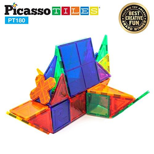 PicassoTiles PT180 Piece Set 180pc Building Block Toy Deluxe Construction Kit Magnet Building Tiles Clear Color Magnetic 3D Construction Playboards Educational Blocks Creativity Beyond Imagination by PicassoTiles (Image #5)