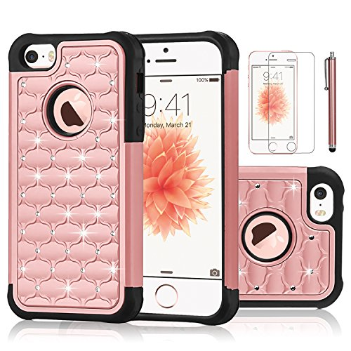 Shockproof Armor Case for Apple iPhone SE/5S/5 (Crystal/Gold) - 4