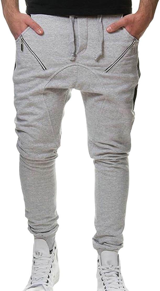 UUYUK Men Drawstring Sports Zip-Up Elastic Waist Sweatpants Long Pants