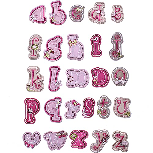 J.CARP Alphabet A to Z Patches, Iron on Sew on Letters for Clothe, 26pcs Pink Sheep