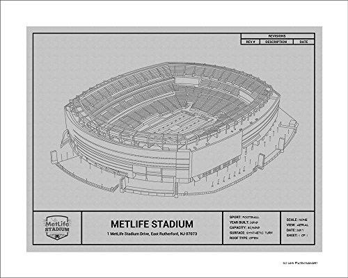 New York Giants MetLife Stadium Blueprint Art Gift