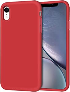 "iPhone XR Case, Anuck Soft Silicone Gel Rubber Bumper Phone Case with Anti-Scratch Microfiber Lining Hard Shell Shockproof Full-Body Protective Case Cover for Apple iPhone XR 6.1"" 2018 - Red"