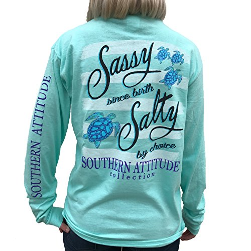 (Southern Attitude Salty by Choice Sea Turtles Sea Foam Green Long Sleeve Women's Shirt (Large))