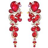 BriLove Women's Wedding Bridal Dangle Earrings Bohemian Boho Crystal Multiple Teardrop Chandelier Long Earrings Gold-Toned Ruby Color