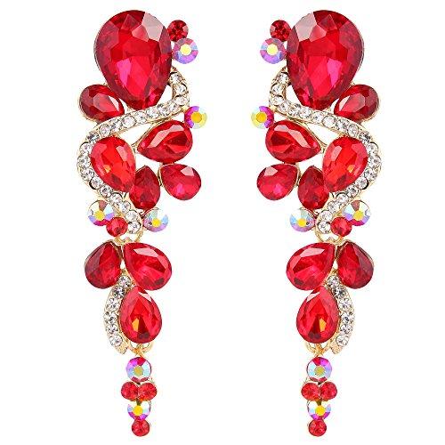 BriLove Women's Wedding Bridal Dangle Earrings Bohemian Boho Crystal Multiple Teardrop Chandelier Long Earrings Gold-Toned Ruby Color -