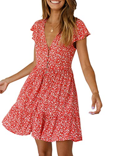 CANIKAT Women's Summer Short Sleeve Button Front Tunic Mini Dress V Neck Floral Print Loose Swing Shift T-Shirt Dress Red M