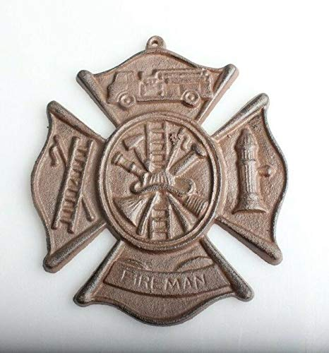 DRD&M Imported Firefighting Fireman's Cross Hanging Wall Plaque Rust Brown Cast Iron 8 inch W Maltese St. Florian - Maltese Brown Cross