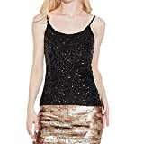 Luweki Womens Workout Tank Tops for Women Crop Top Sexy Summer Tops Sequin Vest Black