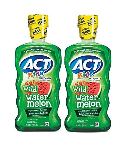 ACT Kids Anticavity Fluoride Rinse, Wild Watermelon, 16.9 Ounce (Pack of 2) by ACT