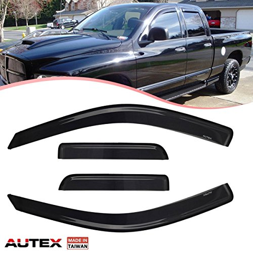 AUTEX 4Pcs Tape On Window Visor Compatible with RAM 1500 Ext Cab 2009 2010 2011 2012 2013 2014 2015 2016 2017 Window Deflector Guard Dodge Ram 1500 Ext Cab