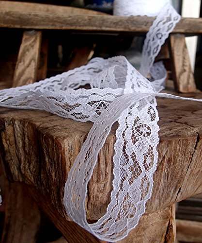 Floral Designing and Crafts AK-Trading 1 Wide x 25 Yards White Floral Pattern Lace Ribbon for Decorating