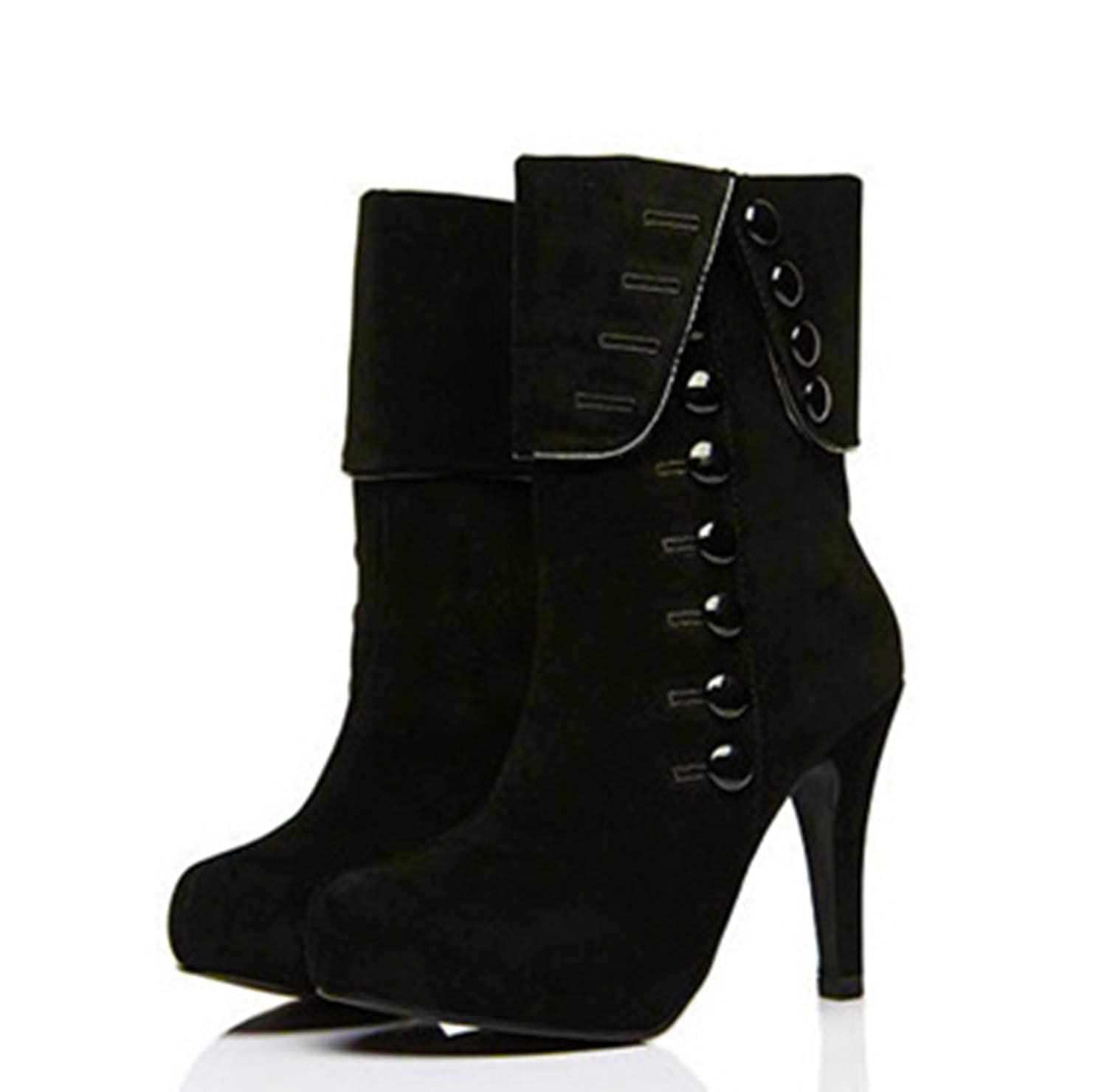 Women's Black Victorian Black Button High-Heel Cuff Cheap Pirate Ankle Boot - DeluxeAdultCostumes.com