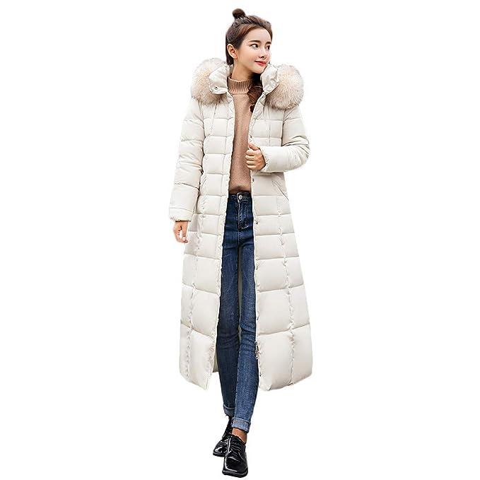 Medium Bianco Creine Cappotto Imbottito Donna con Cappuccio