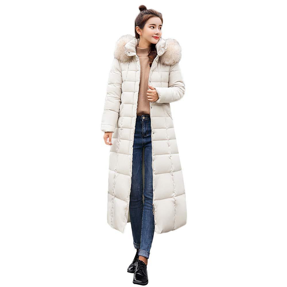 Lelili Women Long Maxi Coat Plus Szie Fashion Packable Long Sleeve Faux Fur Hoode Zip Button Up Padded Overcoat Outwear (2XL, White)