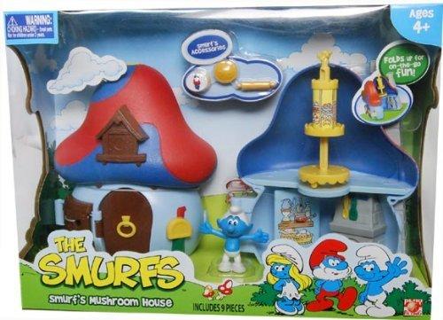 Mushroom Smurf (Smurfs 2 Inch Articulated Mini Figure Playset Smurf with Mushroom House)