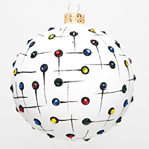 Home and Holiday Shops Improv Multicolored Dot Polish Glass Ball Christmas Tree Ornament Made in Poland